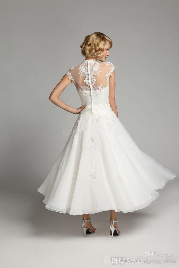 Neue 1950er Jahre Vintage High Neck Brautkleider knöchellangen Flügelärmeln Perlen Pailletten Elfenbein Spitze Organza kurze Brautkleider nach Maß