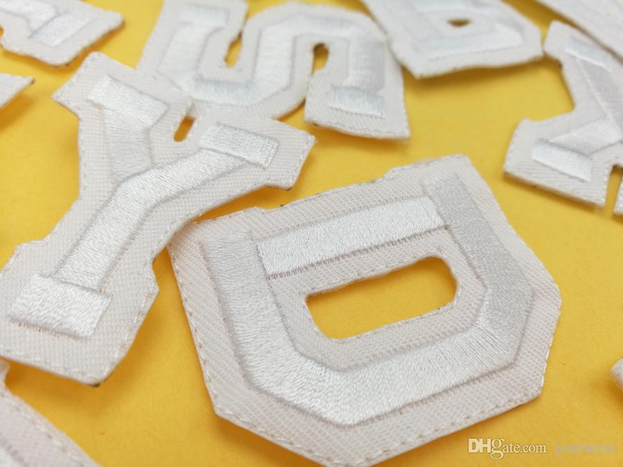 A-Z Pure white English Letter Patch Iron On Embroidery Patches for Clothes with It Clothing Appliques DIY Accessory