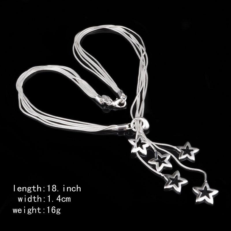 Silver Charms Snake Necklace/Bracelets Jewelry Sets Women Wedding 5 Star Pendant Necklace 925 Sterling Silver Snake Chain Jewelry Sets