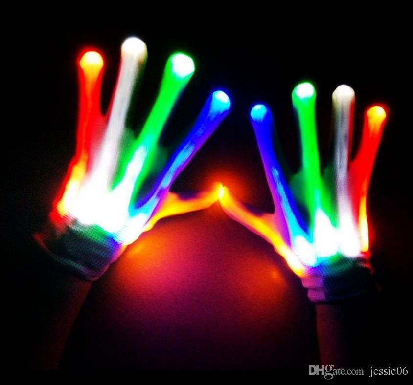 Flashing Finger Lighting Gloves Halloween Christmas dance fancy dress LED Colorful Rave magic Gloves Light show filler bag gift