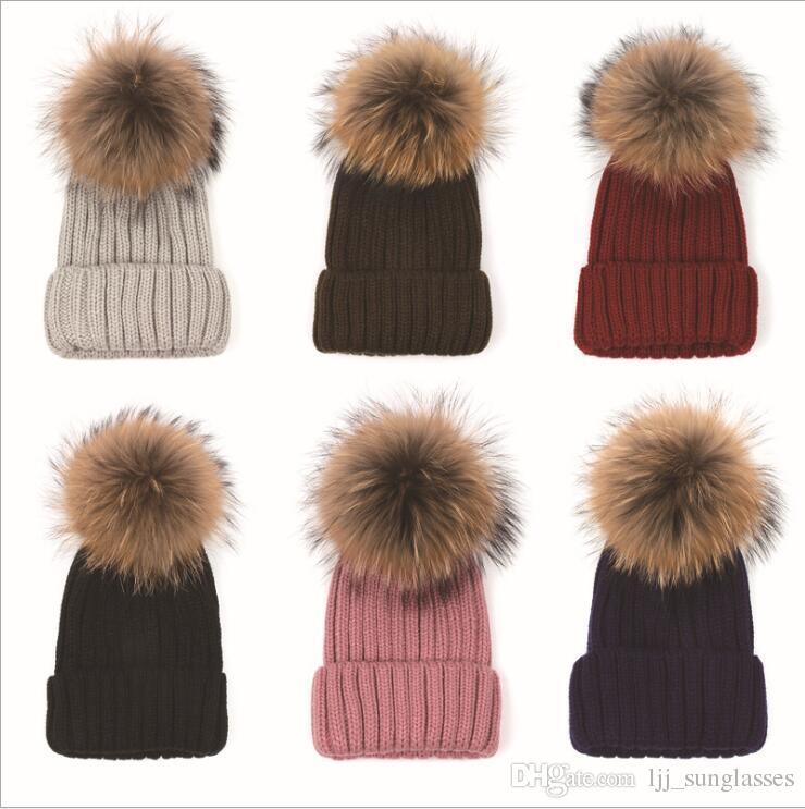 b6fa15e864d Quality Removable Real Mink Fox Fur Pom Poms Ball Acrylic Beanies Winter  Warm Plain Hats Adults Slouchy Mens Womens Warm Hat YYA530 Newborn Hats  Knit Beanie ...
