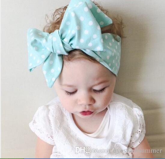 New Baby Girls Dot Striped Floral Big Bow DIY Turban Head Wraps Headband  Jersey Knot Headwraps Hairband Headwear Hair Accessories Flower Bow Hair ... 0c288381693