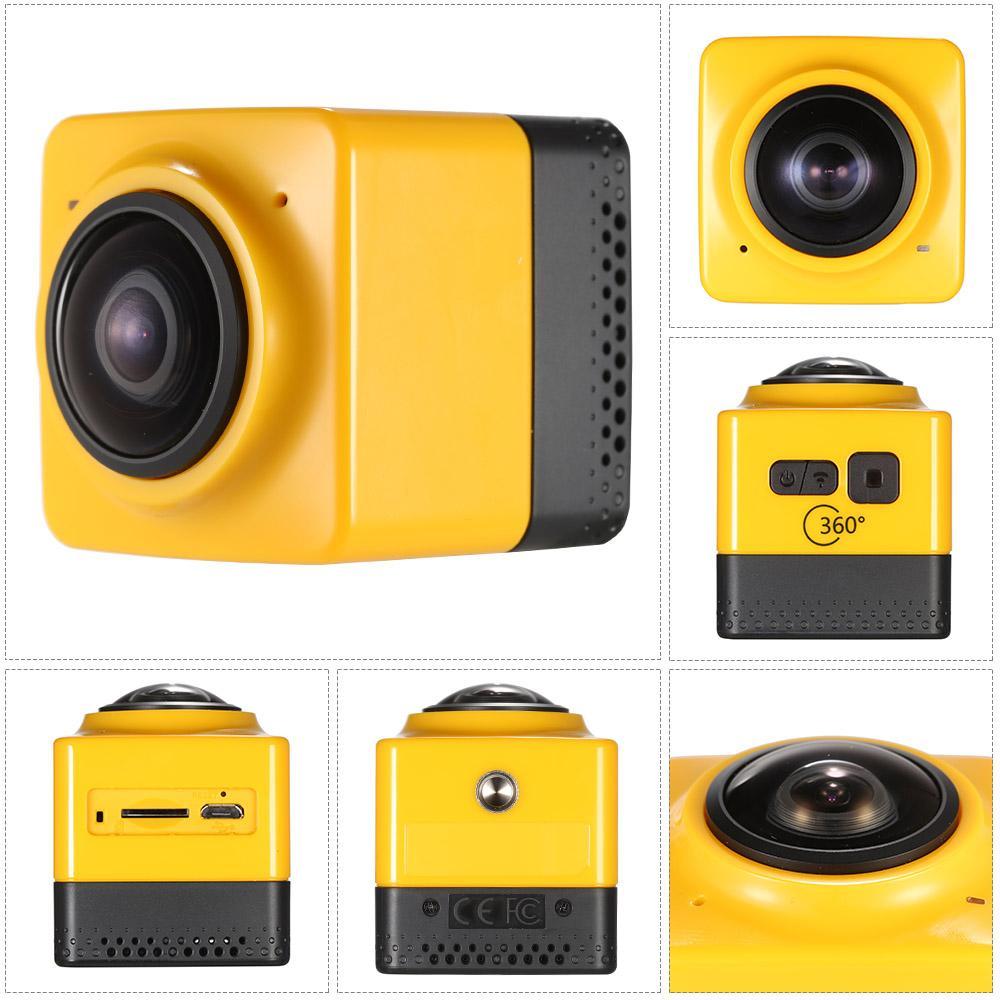 Cámara de acción panorámica con vista panorámica de 360 grados Cámara 360 VR incorporada Cámara WiFi para deportes Cámara H.264 1280 * 1042 con videocámara DSP GVT100M