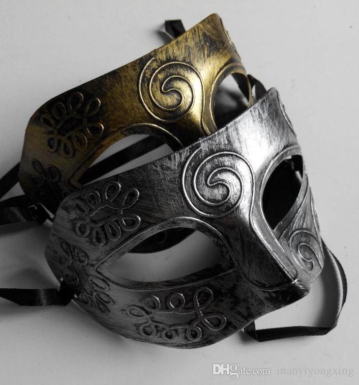 Men's retro Greco-Roman Gladiator masquerade masks Vintage Golden/Silver Mask silver Carnival Mask Mens Halloween Costume Party Mask