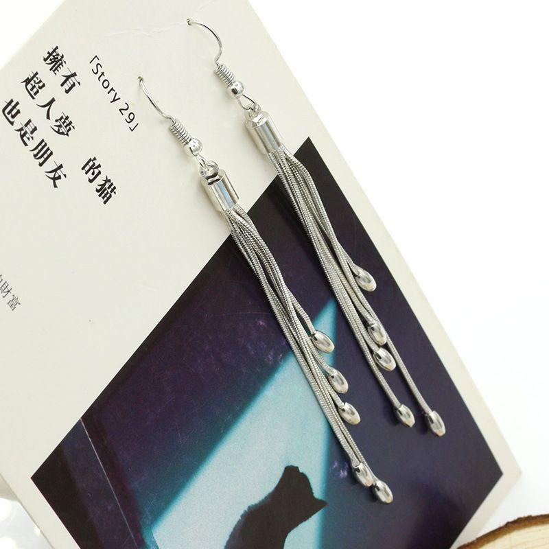 Ohrringe für Frauen Silber überzogene weibliche Modelle fünf Perlen Ohrringe Ohrringe retro Mode Flash Schmuck schöne wilde Super lange Ohrringe