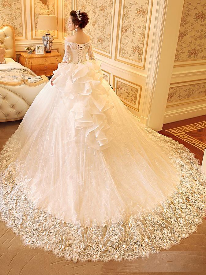 Ivory 2019 tulle Off The Shoulder Half Sleeve Ball Gown Appliques Lace Wedding Dres chapel train