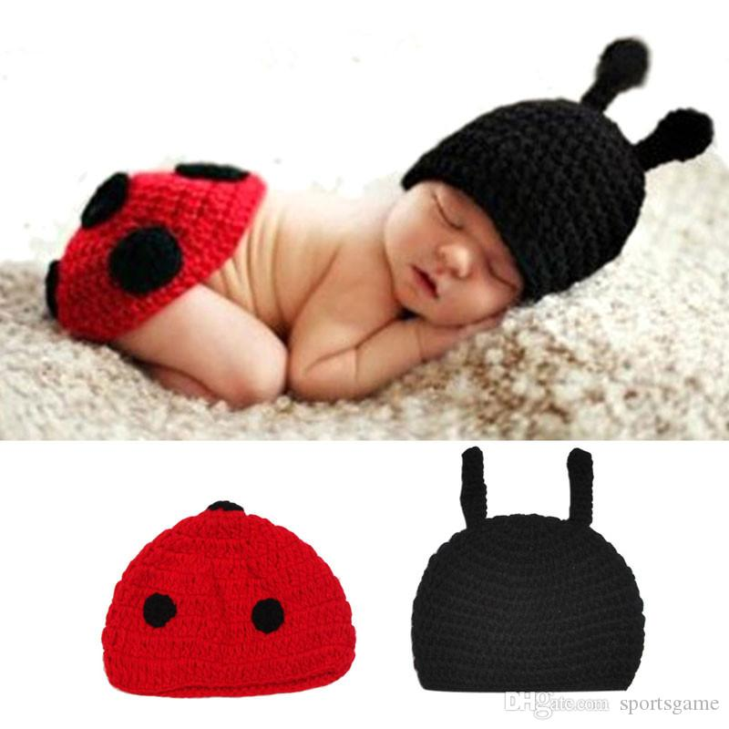 abafabb4076 2019 Baby Newborn Photography Props Accessories Fotografia Cute Ladybug  Knitted Handmade Crochet Ladybird Photo Props Baby Hat Caps From  Sportsgame