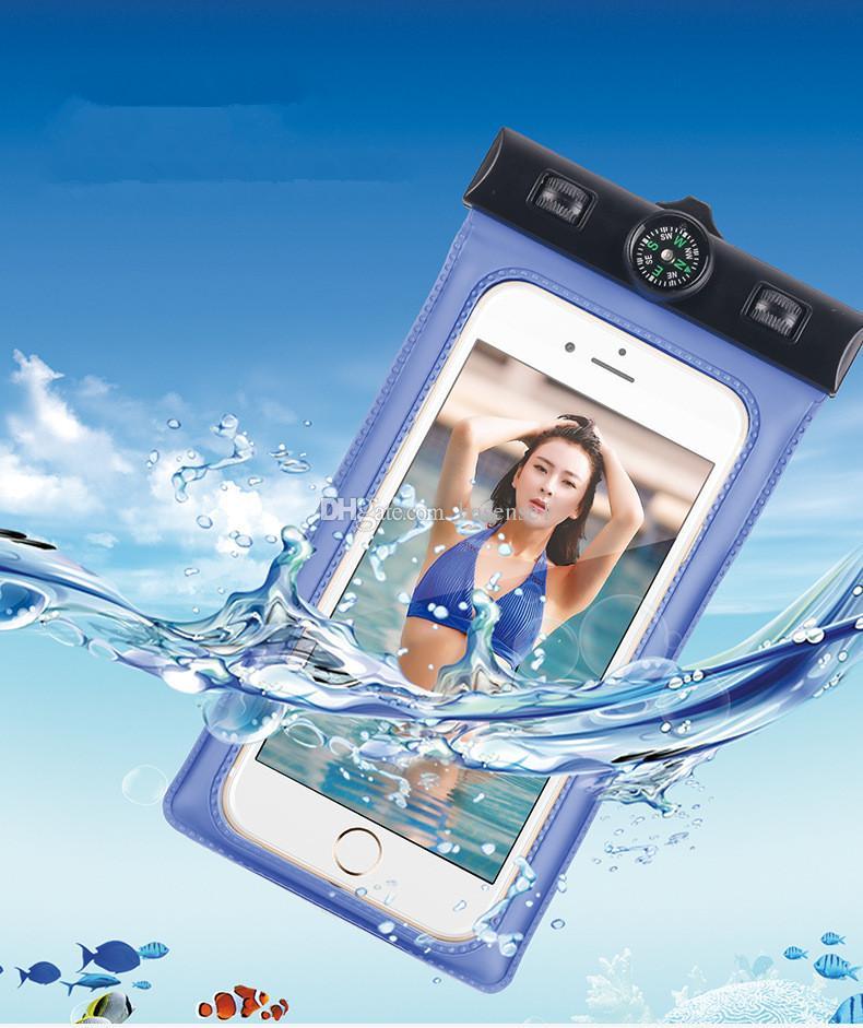 Sac étanche sous l'eau avec Compass Sports Running Housse Etui Swim Diving Bag Floating Pouch pour extérieur pour iphone7 plus 5.5 pouces