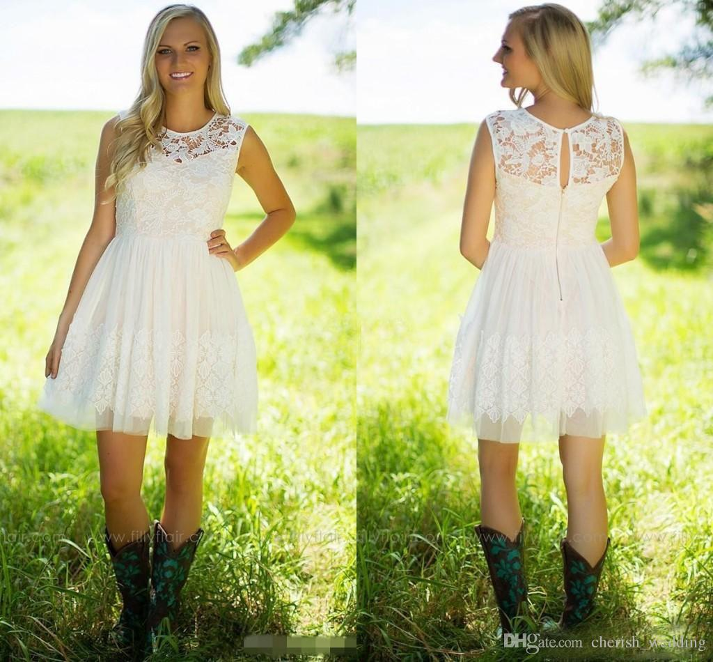 Country style ivory bridesmaid dresses above knee short a line country style ivory bridesmaid dresses above knee short a line lace applique tulle jewel neck boho beach wedding party maid of honor dresses junior ombrellifo Gallery