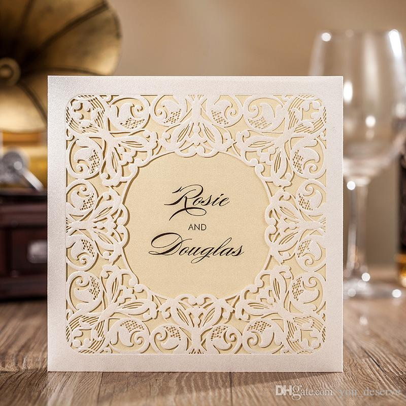 New 2017 Wedding Invitations Cards Very Beautiful White Lace Laser ...