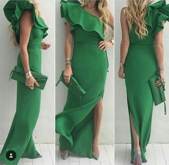 2016 verde elegante vestidos de baile de um ombro lado dividir bainha vestidos de noite design pescoço especial plissado decote vestidos formais