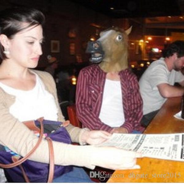 2016 gruselige pferd maske kopf halloween kostüm theater prop neuheit latex gummi 2 farben heißer verkauf