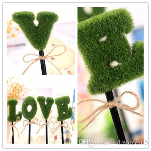 Cute Ballpoint Pen LOVE Green Potted Plant Modelling Pen A Total Of Four Plastic Writing Supplies Office & School Pen High Qulity Stationery