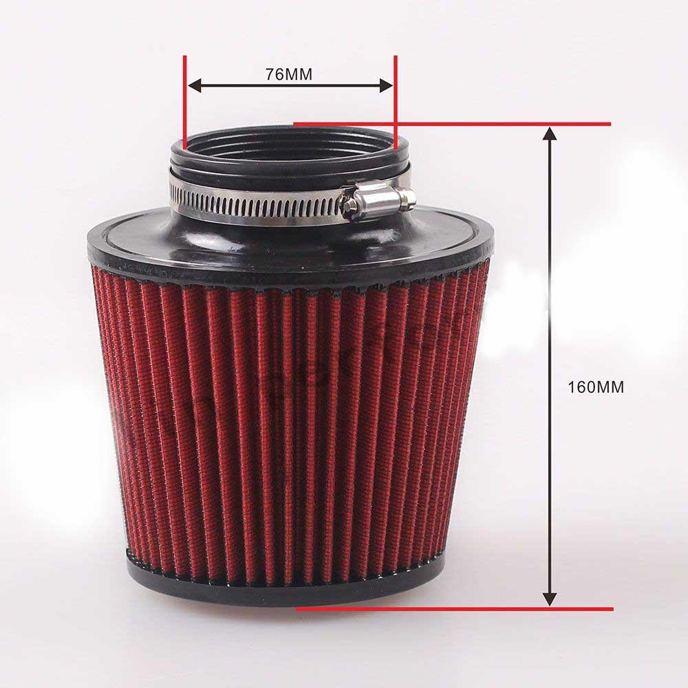 """3"""" 76mm 160mm Height Car High Flow K&N Cone Cold Air Intake Filter Cleaner"""