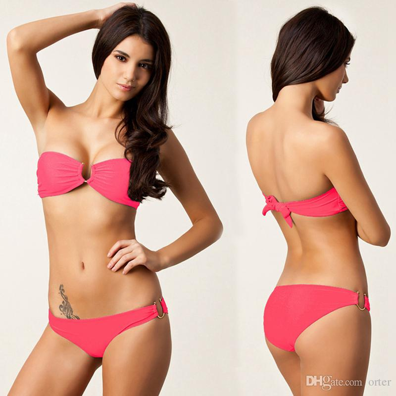 Женщины сексуальный купальник бикини набор крючком неопрена бикини купальники пляж без бретелек танкини Pad купальник пуш-ап