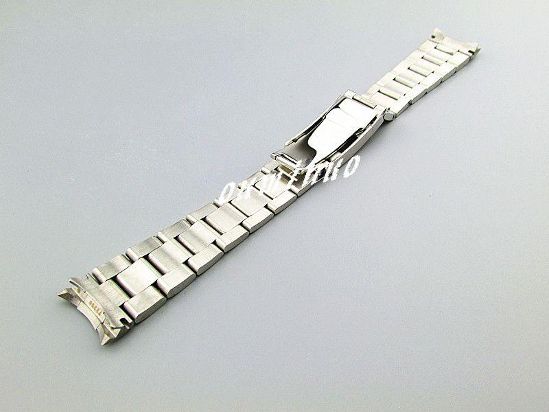 20mm YENİ Saf Katı 316L Kavisli uç Paslanmaz çelik Gümüş + Fırçalı Cilalı Rolex saat için Biten İzle Gruplar Bilezikler