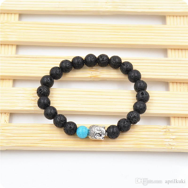 buddha naturstein schmuck buddha armband yoga lava stein stretch armbänder perlen bestseller tibetanischen buddhismus gebetsperlen