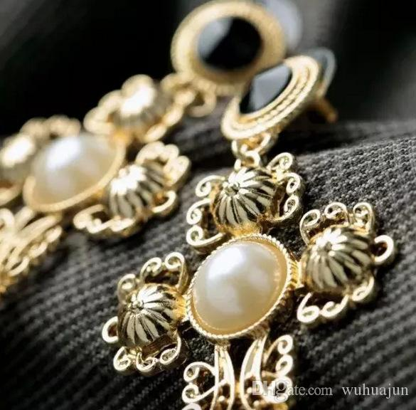 New Arrival Baroque Style 18K Gold Plated Women's Earrings White Pearl Blue Stone Crosses Design Earring, Lady Party Stud Jewelry