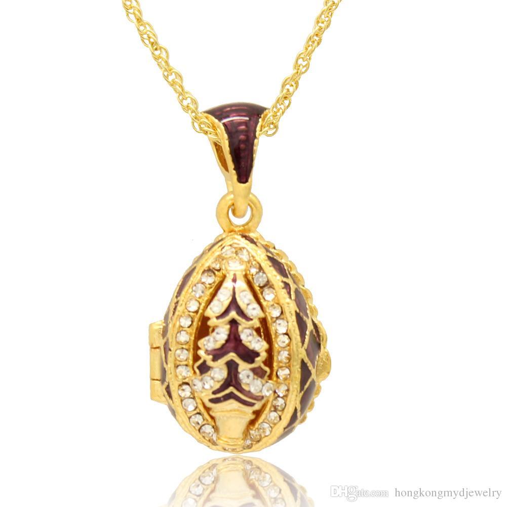 크리스마스 트리 목걸이 펜던트 목걸이 Faberge Egg 펜던트 부활절 날 에나멜 색상 러시아 스타일로 수공예