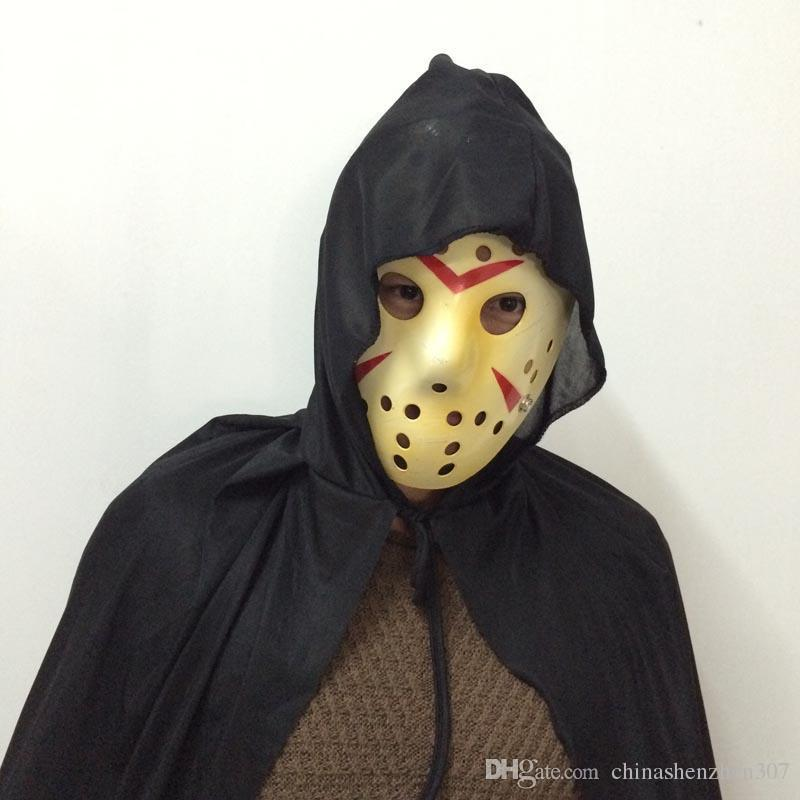 2016 New Cosplay Dressing Killer Costume Jason Mask Long Black hooded cloak Suit Carnival Halloween Party Mask TAOS
