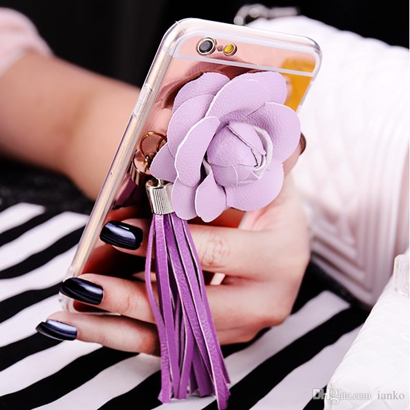 Moderner Charme-transparenter TPU Kasten mit lederner rosafarbener Blumenabdeckung 3D elegante rosafarbene Troddeln Anhänger-Abdeckung für Iphone6 6s 6 plus