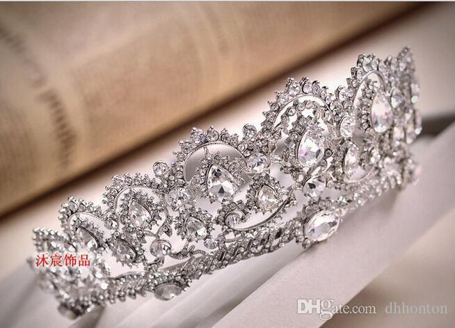 Sparkle Boncuklu Kristaller Düğün Taçlar yeni Gelin Kristal Peçe Tiara Taç Kafa Saç Aksesuarları Parti Düğün Tiara HT133