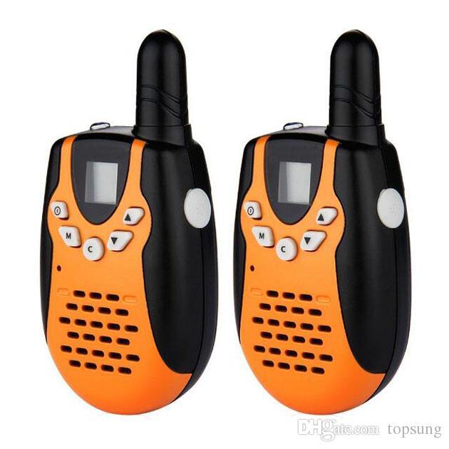 Pari Mini Walkie Talkies Portátil 2 Way Rádio Transceptor PMR446 FRS / GMRS LCD Laranja walkie talkies brinquedos crianças portátil transceptor móvel