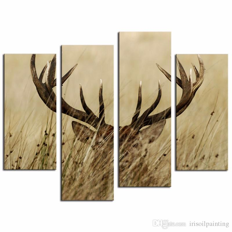 Panel Wall Decor 2017 lk471 4 panel wall art deer stag with long antler in the