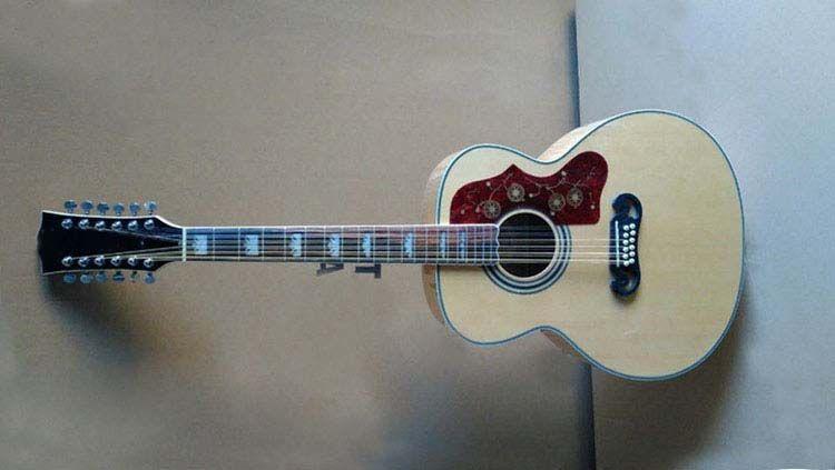 Toptan el işi gitar, classica 43 inç ahşap renk 12 dize özel jumbo tarzı akustik elektro gitar ile ahşap renk