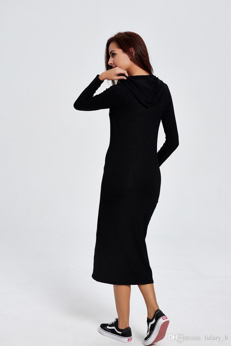 여성 새 가을과 겨울 캐주얼 후드 드레스 편지 인쇄 스웨터 드레스 허리 니트 드레스를 수집