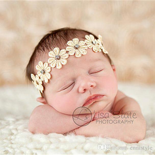 Newborn Baby Headbands 7 Flowers Kids Elastic Head Bands Sunflowers