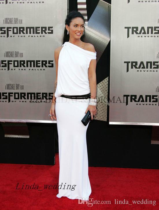 Neue Ankunfts-weiße Farbe Megan Fox Abendkleid Lange roter Teppich-Berühmtheit Gelegenheit Dresse Abendkleid-Partei-Kleid