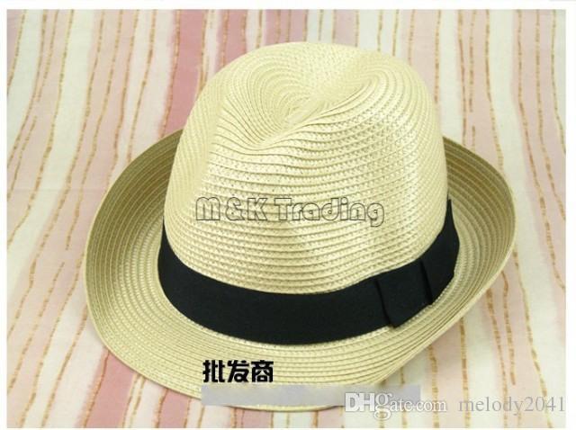 Gros pas cher Panama paille chapeaux protection solaire 15 couleurs mixtes Vogue doux Stingy Brim Chapeaux Couleurs Choisir navire gratuit