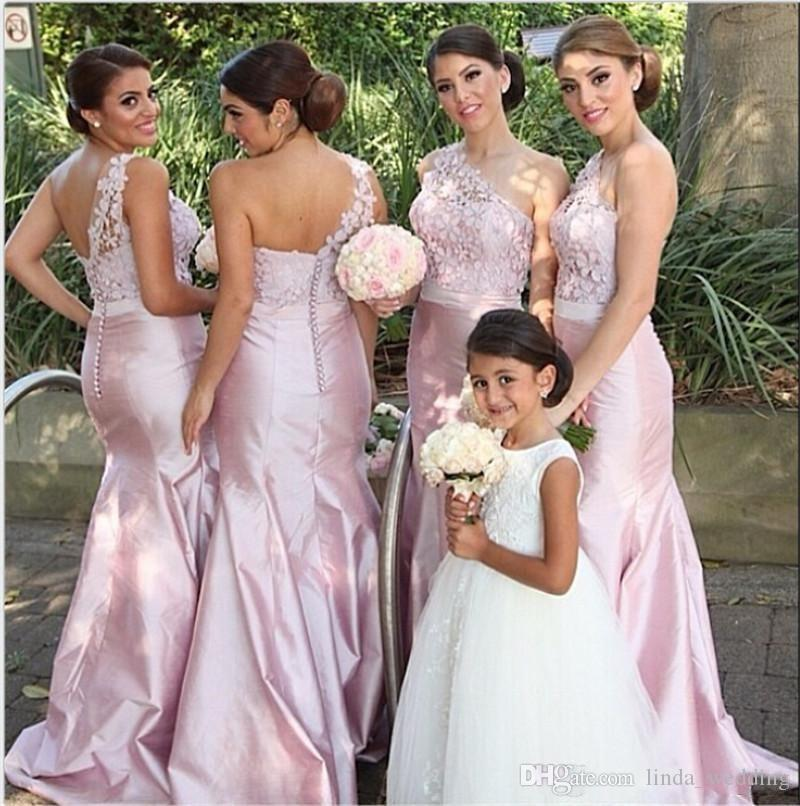Long Bridesmaid Dresses New Arrival Blush Pink Peach One-Shoulder Lace Maid of Honor Dress Wedding Party Gown