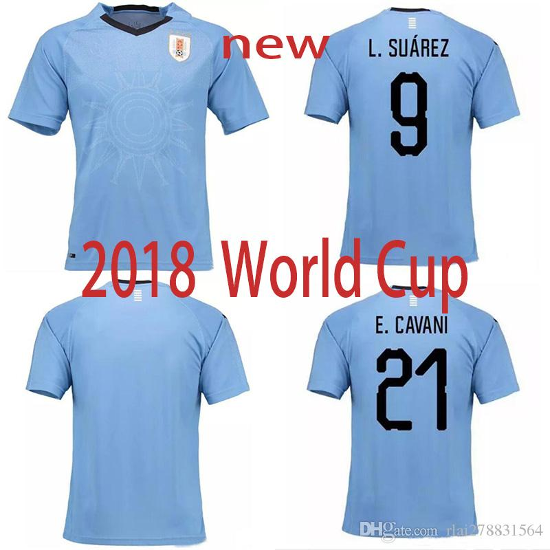 best service ccc82 044c7 New 2018 World Cup Uruguay Soccer Jerseys D.GODIN E.CAVANI SUAREZ top  quality URUGUAY home Blue football shirt Free Shipping