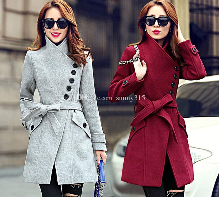elegant 2017 fall winter coat plus size korean women stand collar