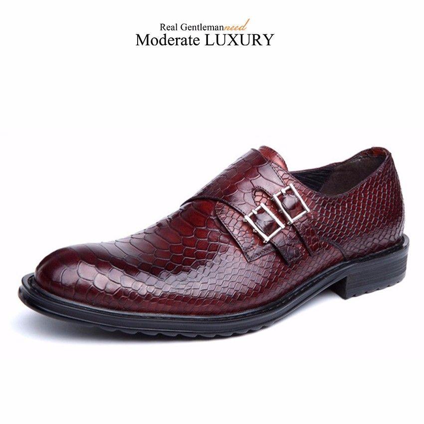 GRIMENTIN Mens dress shoes fashion designer men oxford shoes genuine leather crocodile grain double buckle formal business office male shoes