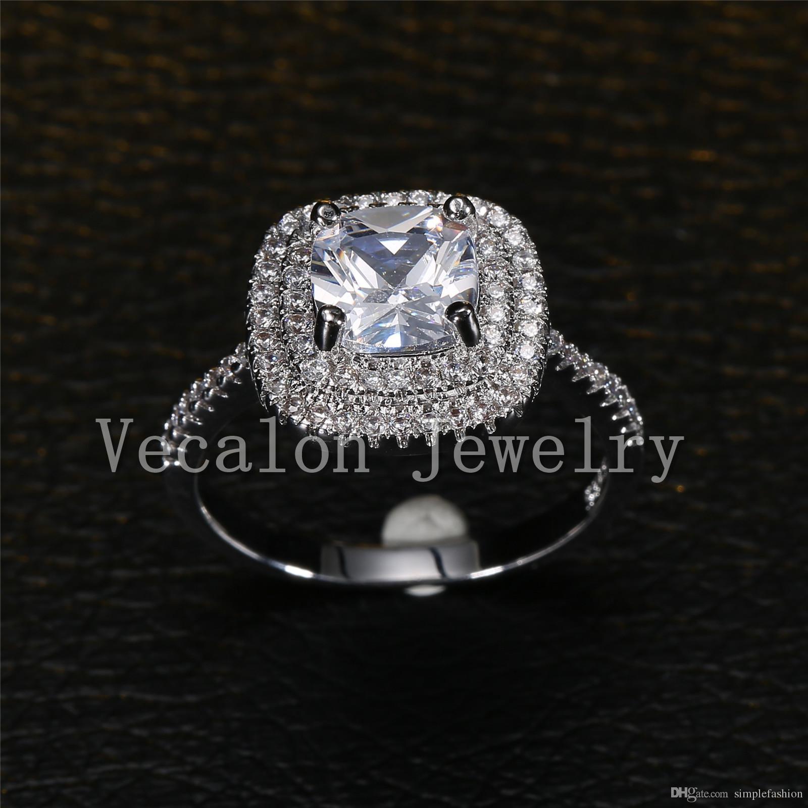 Vecalon 2016 мода дизайн обручальное обручальное кольцо для женщин 3ct имитация Алмаз Cz стерлингового серебра 925 женский группа кольцо