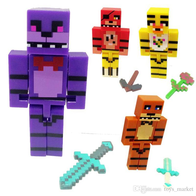 2019 NEW 2 8inch Five Nights At Freddy'S Figures Set Of 4 Freddy Bonnie  Chica Foxy FNAF Building Block Action Figures Toys From Toys_market, $2 11   