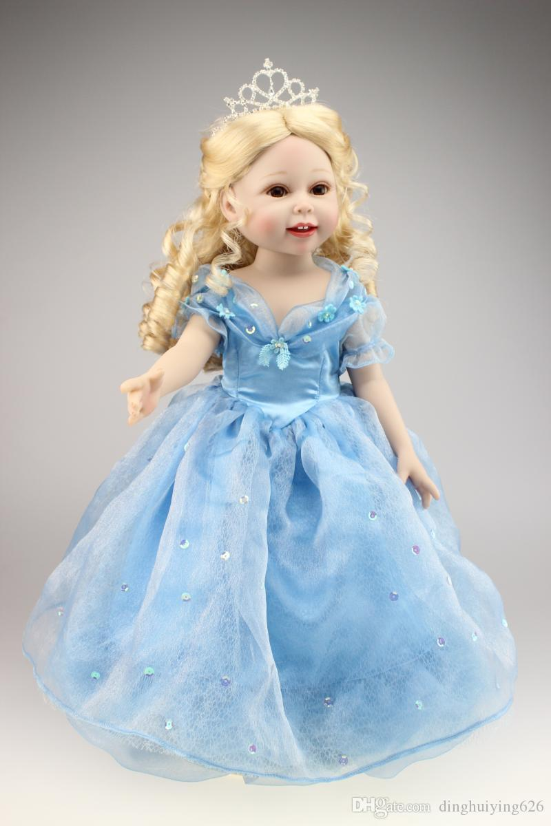 18 Inch Full Vinyl American Girl Cinderella Doll in Blue Party Dress ...
