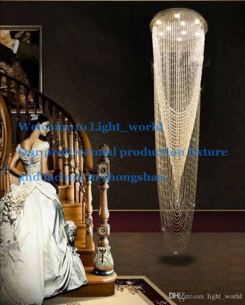 Großhandel Moderne Crystal Curtain Kronleuchter Leuchte Für Lobby,  Treppenhaus, Treppen, Foyer Große Crystal Lighting Verschiedenen Größen  1171 Von ...