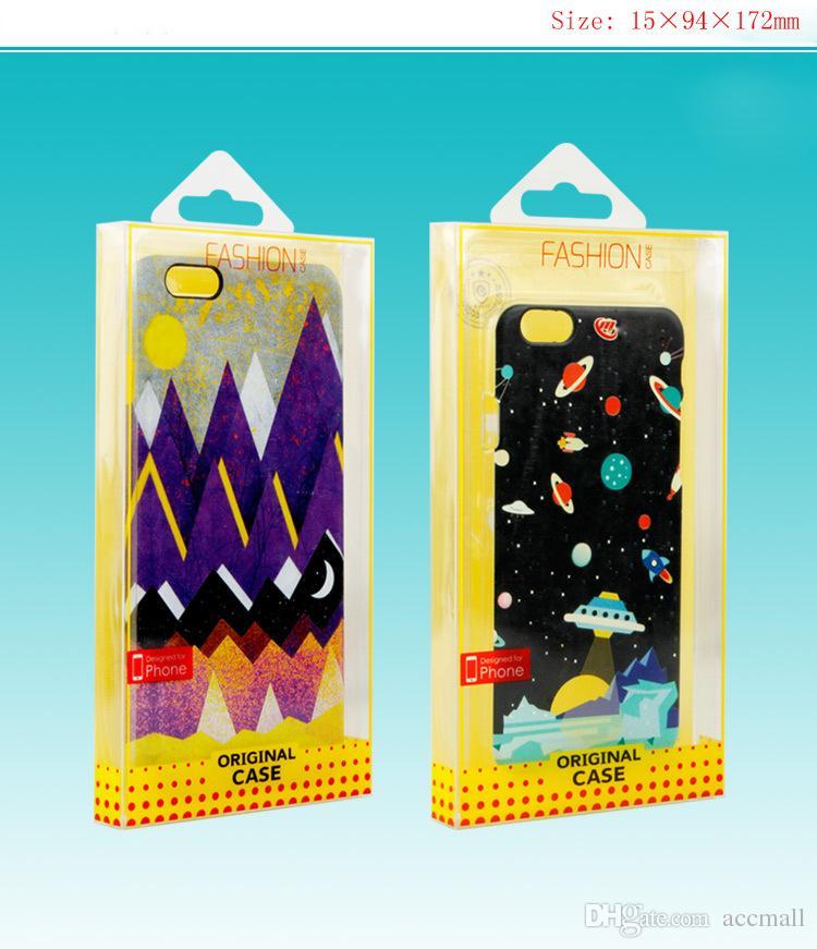 Universal Clear PVC Plast Retail Packaging Package Box för iPhone 6 7 8 Plus Samsung S8 S7 Not 8 Sony Telefon Läderfodral Fit i 5,5 tum