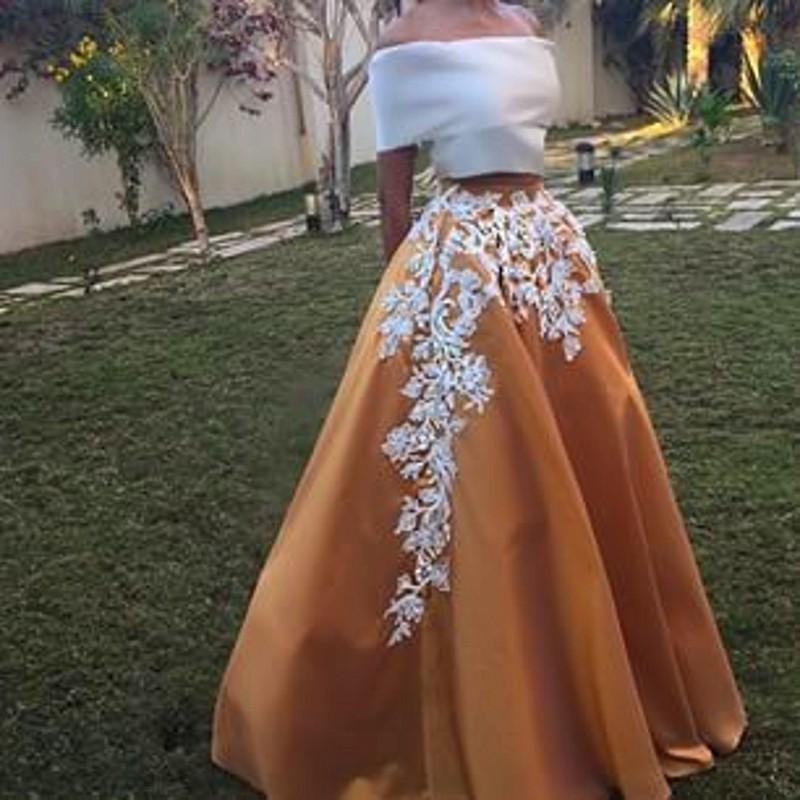 Elegant Two Piece Evening Dresses New Listing Boat Neckline Prom Dress Off  The Shoulder Long Evening Dress Floor Length Robe De Soiree Cheap Prom  Dresses ... 0bdfbfb825e0