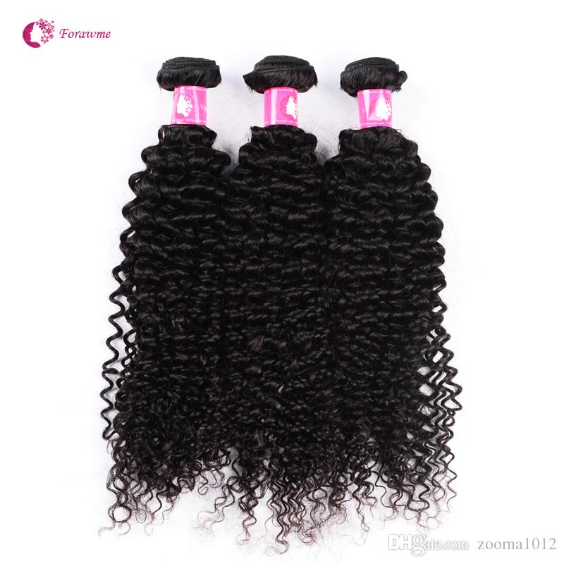 Virgin Brazilian Afro Curly Wavy Hair Bundles With Lace Frontal Closure Remy Peruvian Human Hair Weave With Frontal Piece Forawme Free Part