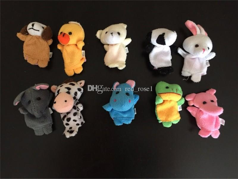 2017 Baby Plush Puppet Toys Cartoon Happy Family Fun Animal Finger Hand Puppet Kids Learning & Education Doll Toys Gifts /Factory Direct