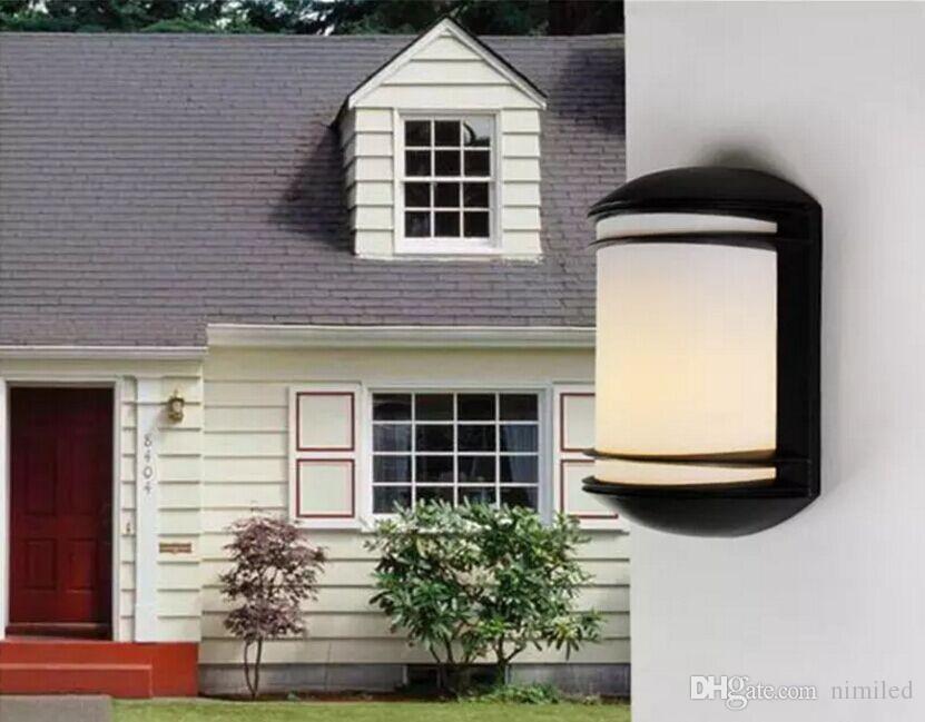 Lampe de porche de mur de jardin à énergie réduite extérieure en aluminium moderne en aluminium, corps en métal + lumière de mur de jardin d'abat-jour de PC