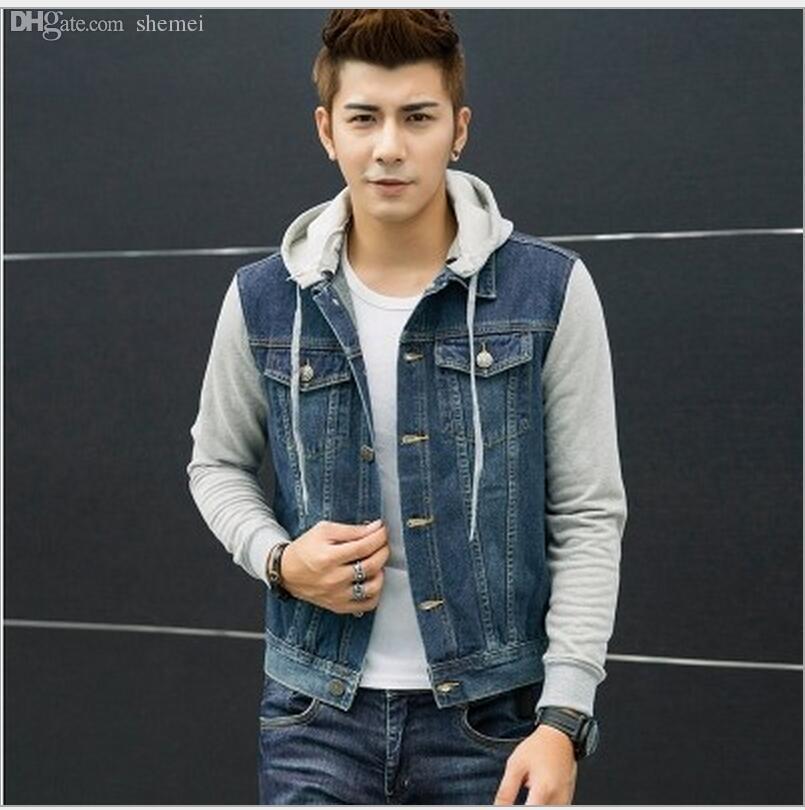 timeless design 79a8f 7cd52 Autunno-New Fashion uomo felpe con cappuccio cowboy uomini giacca tute  jeans giacca uomo jeans giacca uomo felpe con cappuccio e felpe