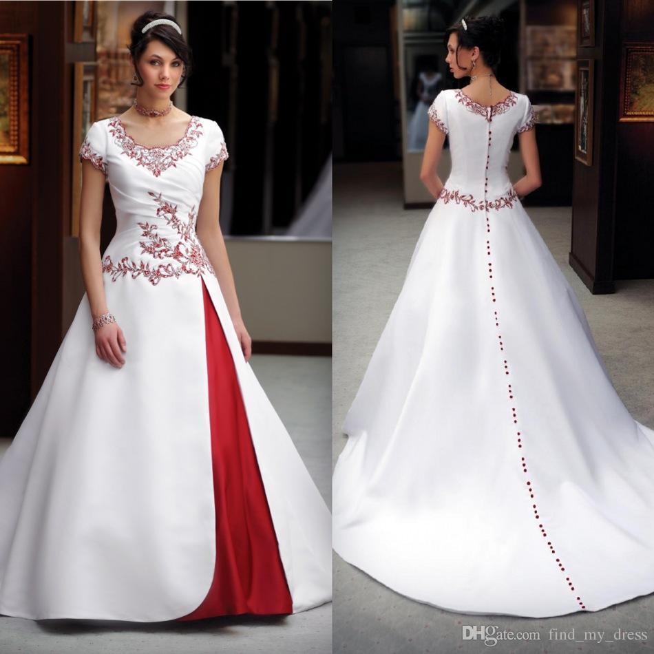 Abito da sposa bianco e rosso dal design classico Manica corta Scollo rotondo In rilievo Embriodery Una linea Abiti da sposa in raso Realizzato su misura