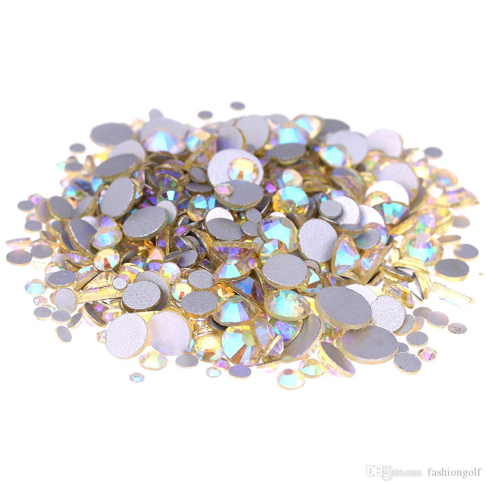Jonquille AB Non Hotfix Crystal Strass pour ongles Art Décoration SS12-SS30 Flatback Colle Strass Pierres de bricolage Crafts Vêtements