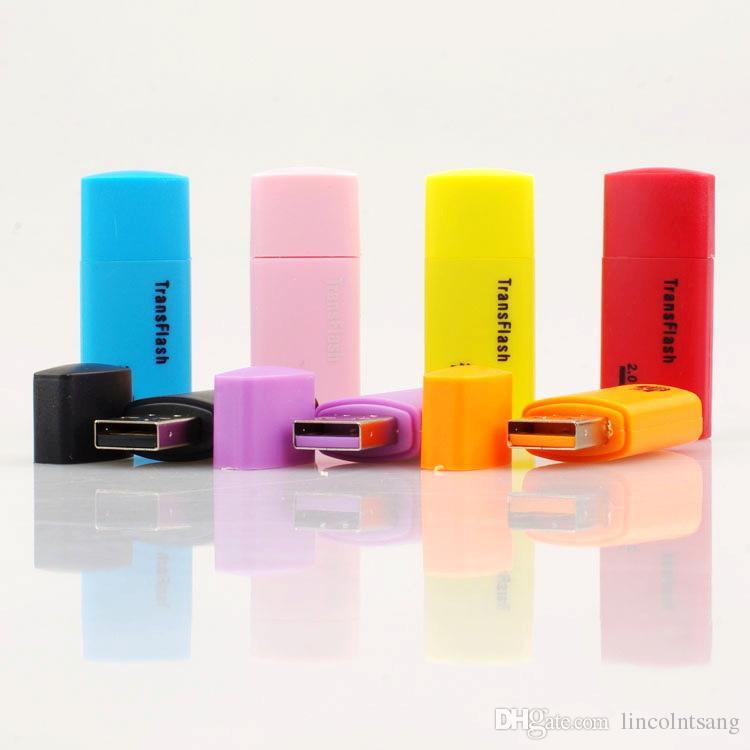 Wholesale ittle dog USB 2.0 memory TF card reader micro SD card reader DHL FEDEX